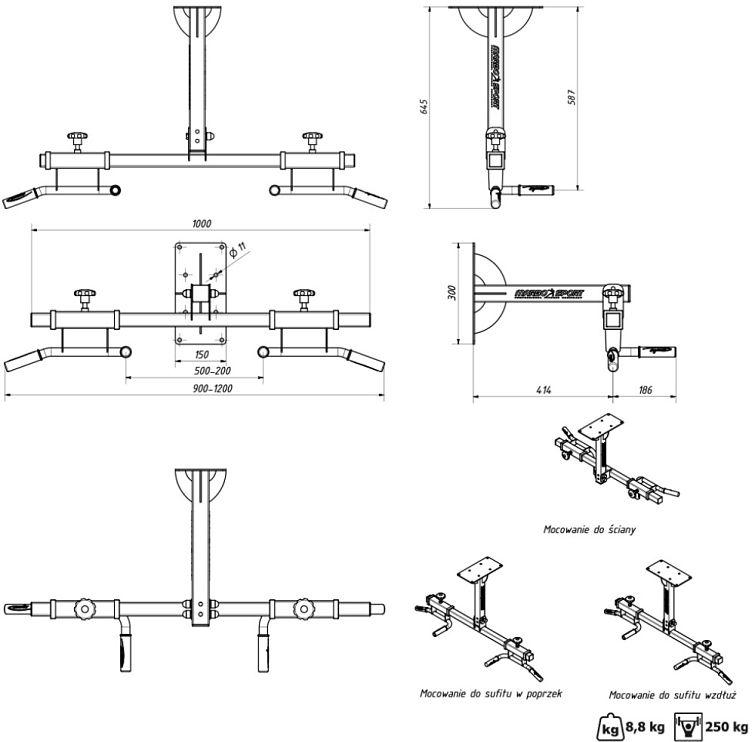 34a54f246 Semi Pro Chin up bar til loft- og vægmontering